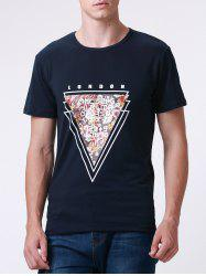 Casual Style Round Neck Short Sleeve Geometric and Letter Printed T-Shirt For Men