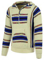Striped Pattern Half Zip Long Sleeve Hooded Sweater For Men - COLORMIX