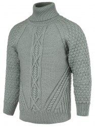 Braid Pattern Turtleneck Raglan Sleeve Sweater For Men - GRAY