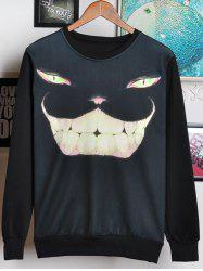 3D Cat Face Print Round Neck Long Sleeve Sweatshirt For Men