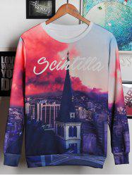 3D Bell Tower and Letters Print Round Neck Long Sleeve Sweatshirt For Men