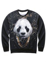 3D Panda and Gold Chain Print Round Neck Long Sleeve Sweatshirt For Men - BLACK