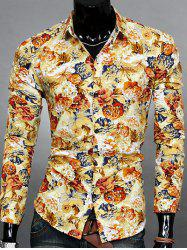 Turn-down Collar Long Sleeve Floral Printed Shirt For Men