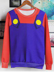 3D Cartoon Costume Print Round Neck Long Sleeve Sweatshirt For Men