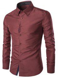 Turn-Down Collar Slim-Fit Long Sleeve Formal Shirt - WINE RED