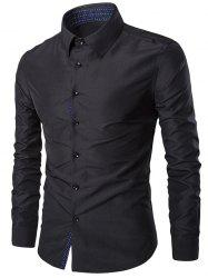 Turn-Down Collar Slim-Fit Long Sleeve Formal Shirt - BLACK