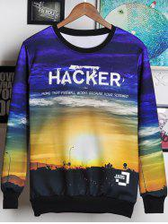 3D Letters and Sunset Print Round Neck Long Sleeve Sweatshirt For Men -