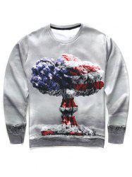 3D Mushroom Cloud Print Round Neck Long Sleeve Sweatshirt For Men