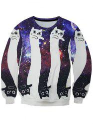 3D Starry Sky and Cartoon Cats Print Round Neck Long Sleeve Sweatshirt For Men -