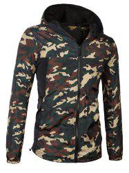 Fashionable Camo Bomber Hooded Zipper Flying Jacket For Men