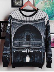 3D Palace Print Round Neck Long Sleeve Sweatshirt For Men