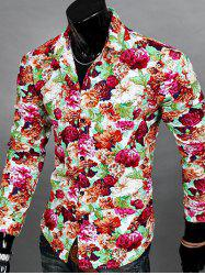 Floral Print Turn-down Collar Long Sleeve Shirt For Men -