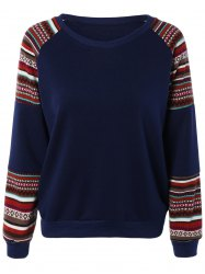 Tribal Print Spliced Sweatshirt - PURPLISH BLUE