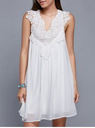 V Neck Sleeveless Cut Out Chiffon Dress