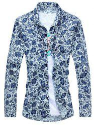 Chinoiserie Floral Printed Turn-Down Collar Long Sleeve Shirt For Men