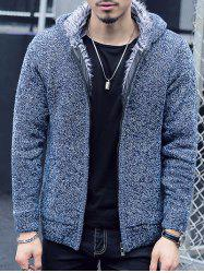 Plush Lining Zip Up Hooded Cardigan For Men - BLUE