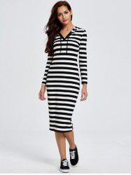 Chic Hooded Long Sleeve Striped Women's Dress