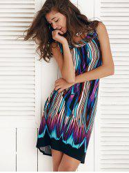 Sleeveless Multi Color Knee Length Shift Dress - COLORMIX