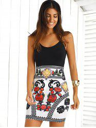 Color Block Floral Sleeveless Mini Bodycon Dress - BLACK AND WHITE AND RED