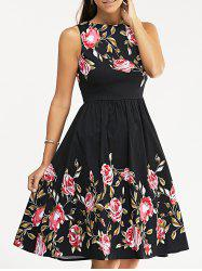 Retro Rose Floral Party Skater Dress - BLACK