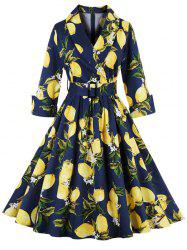 Vintage High Waist Lemon Print Dress - PURPLISH BLUE 2XL