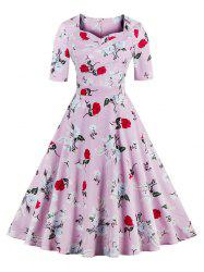 Vintage Sweetheart Neck Floral Pattern Skater Dress