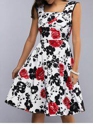 Retro Women's Sleeveless Floral Print Flare Dress