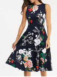 Floral Print Vest Midi Flare Dress - DEEP BLUE