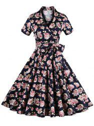 Vintage Tie-Waist Floral Print Women's Dress - CADETBLUE 4XL