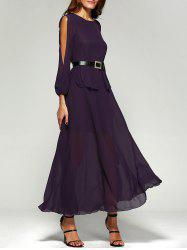 Split Long Sleeve Chiffon Swing Prom Maxi Dress - PURPLE