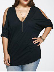 Plus Size Cold Shoulder Loose Fitting T-Shirt - BLACK