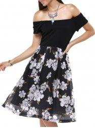 Vintage Off-The-Shoulder Floral Pleated Dress For Women -