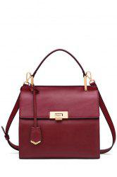 Retro Style Leather Tote Bag - WINE RED