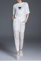 Kitten Lace Blouse and Elastic Waist Ninth Pants