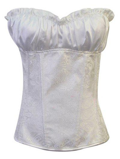 Affordable Stunning Lace Up Ruffle Paisley Print  Corset With G-String