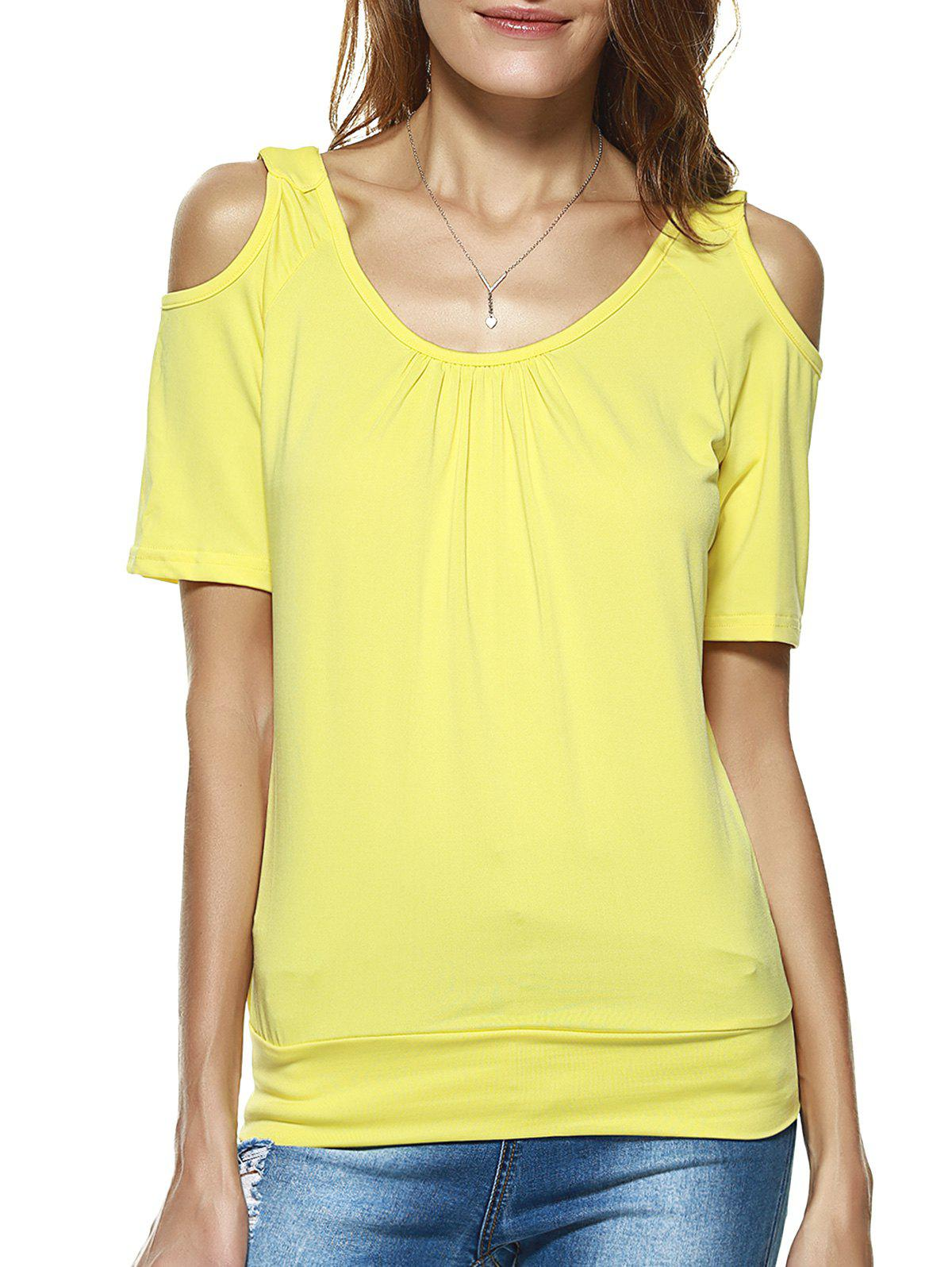 9c84ee8417575e 2018 Open Shoulder Pure Color Loose Blouse In Yellow M