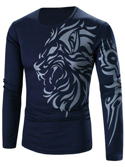 Tattoo Style Tiger Print Round Neck Long Sleeve T-Shirt For MenMEN<br><br>Size: L; Color: CADETBLUE; Material: Cotton,Polyester; Sleeve Length: Full; Collar: Round Neck; Style: Fashion; Pattern Type: Animal; Season: Fall,Spring; Weight: 0.210kg; Package Contents: 1 x T-Shirt;