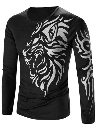 Tattoo Style Tiger Print Round Neck Long Sleeve T-Shirt For MenMEN<br><br>Size: L; Color: BLACK; Material: Cotton,Polyester; Sleeve Length: Full; Collar: Round Neck; Style: Fashion; Pattern Type: Animal; Season: Fall,Spring; Weight: 0.210kg; Package Contents: 1 x T-Shirt;