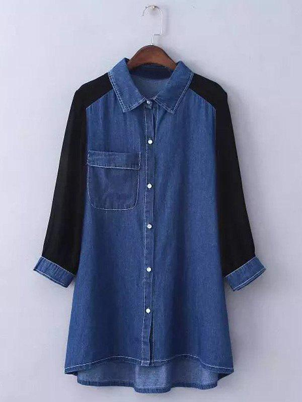 Shop Plus Size Chiffon Sleeve Long Denim Tunic Shirt