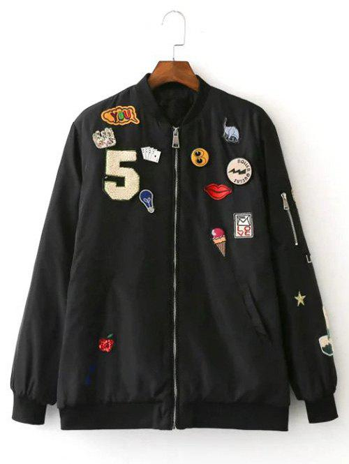 Outfits Patch Embellished Bomber Jacket