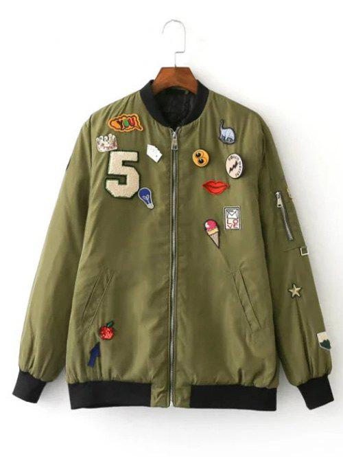 Online Patch Embellished Bomber Jacket