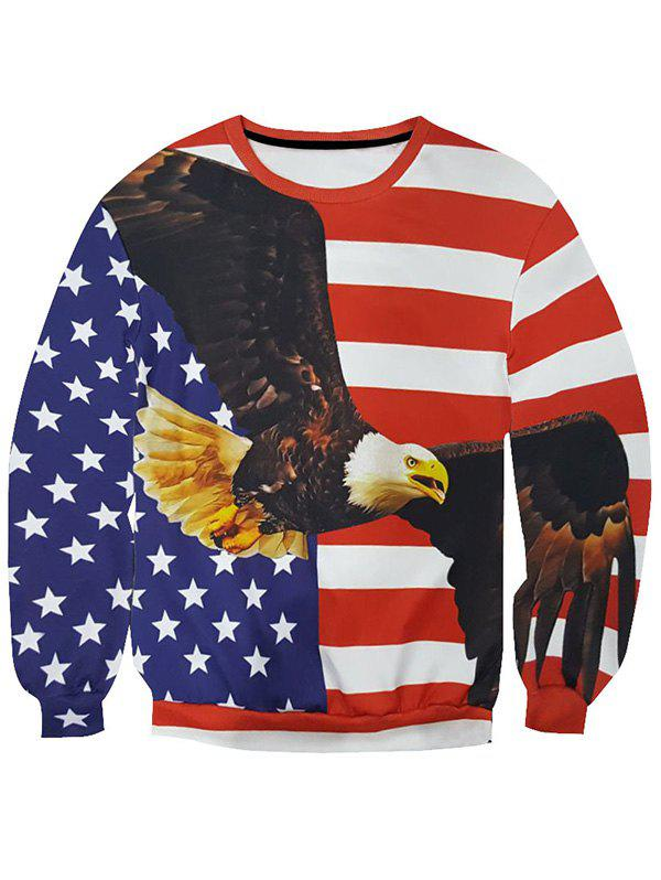 Outfits 3D Star and Stripe Eagle Print Round Neck Long Sleeve Sweatshirt For Men