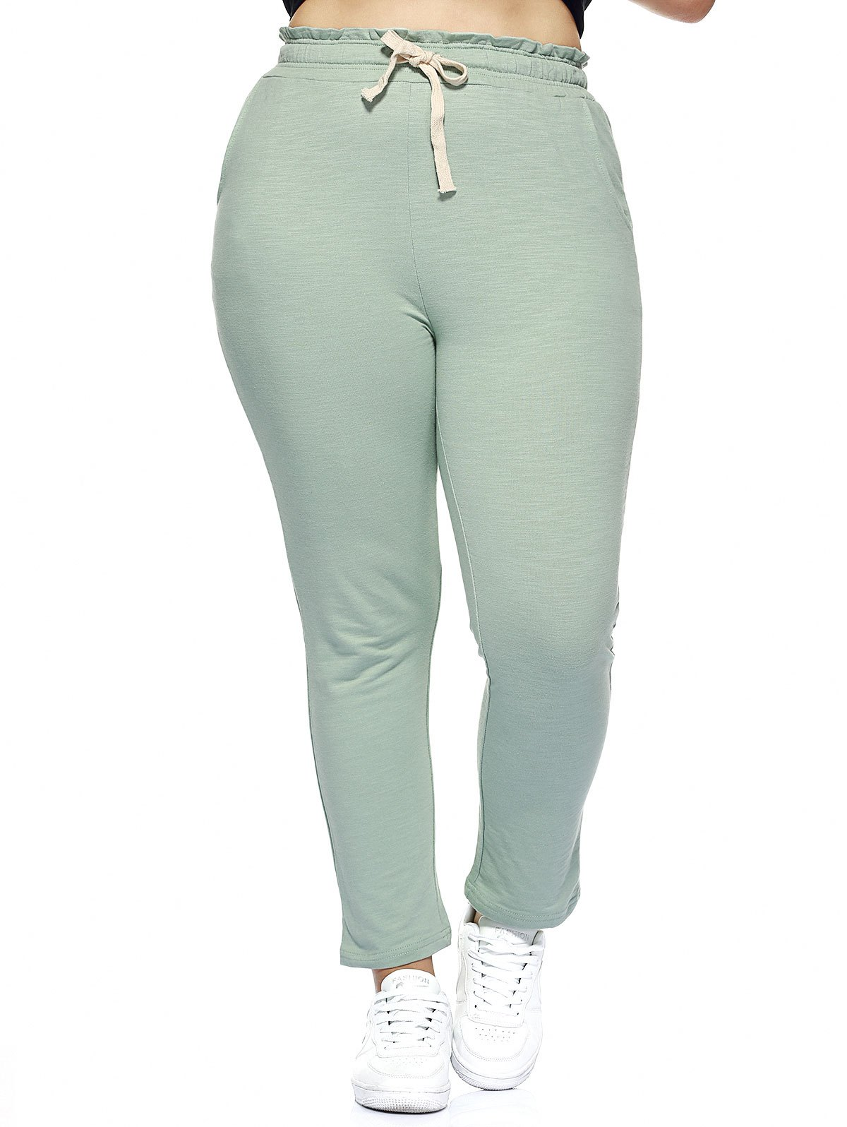 Best Oversized Simple Drawstring Waist Pure Color Stretchy Slimming Pants