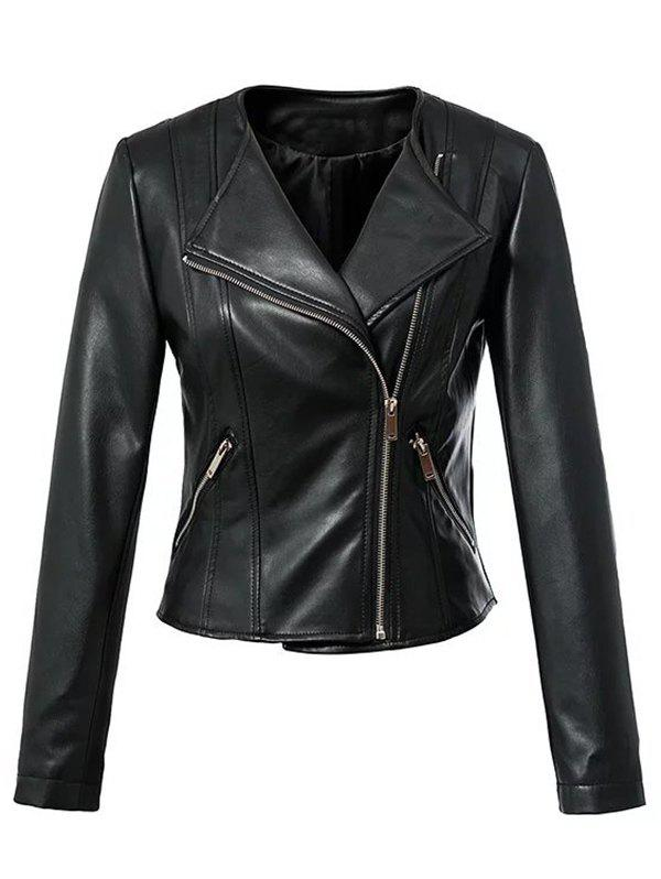 Discount Cool Zipper Design All Black Jacket