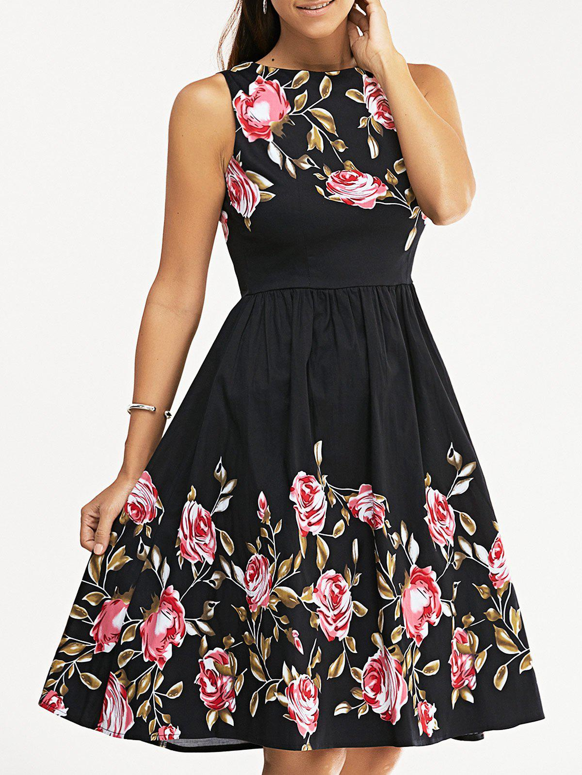 Retro Rose Floral Party Skater DressWOMEN<br><br>Size: 2XL; Color: BLACK; Style: Vintage; Material: Cotton Blend,Polyester; Silhouette: Ball Gown; Dresses Length: Knee-Length; Neckline: Round Collar; Sleeve Length: Sleeveless; Waist: Empire; Embellishment: Flowers; Pattern Type: Floral; Elasticity: Micro-elastic; With Belt: No; Season: Fall,Spring,Summer,Winter; Weight: 0.370kg; Package Contents: 1 x Dress;