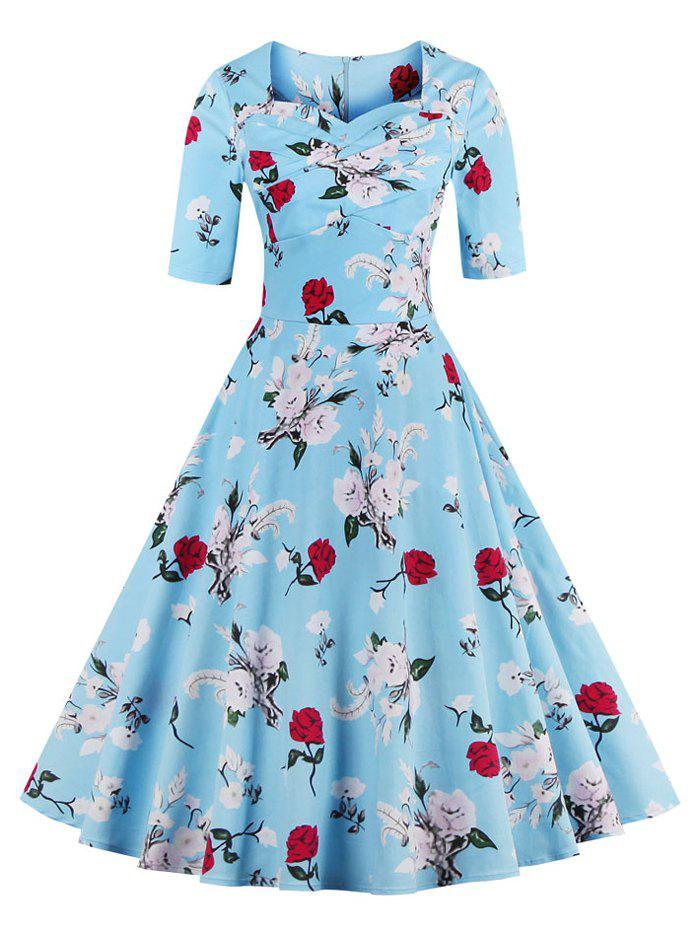 Vintage Sweetheart Neck Floral Pattern Skater DressWOMEN<br><br>Size: 4XL; Color: WATER BLUE; Style: Vintage; Material: Polyester; Silhouette: A-Line; Dresses Length: Mid-Calf; Neckline: Sweetheart Neck; Sleeve Length: Half Sleeves; Pattern Type: Floral; With Belt: No; Season: Summer; Weight: 0.470kg; Package Contents: 1 x Dress;