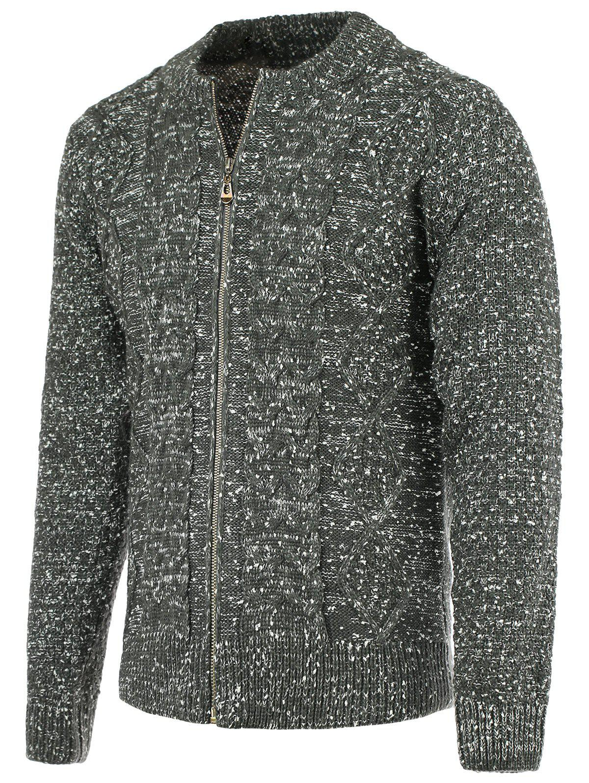 Cheap Heathered Braid Zip Up Long Sleeve Cardigan For Men