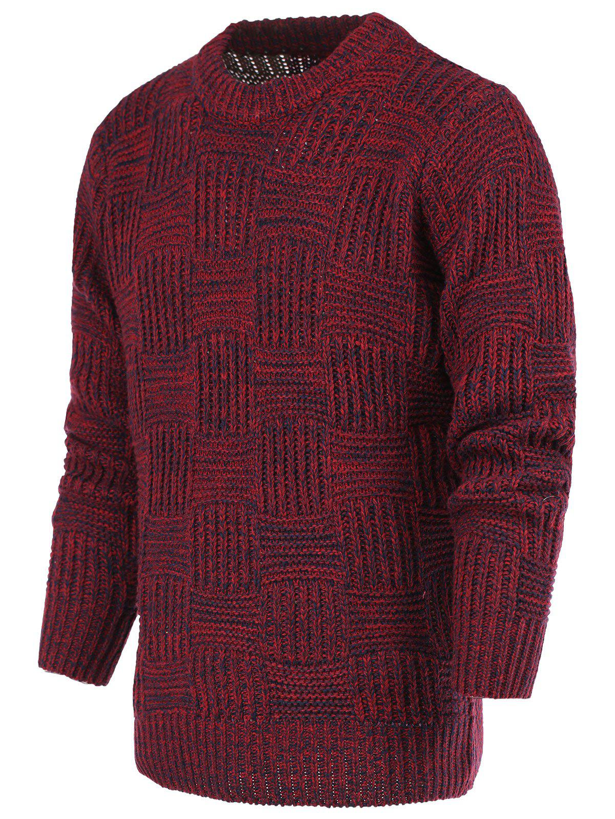 Unique Ribbed Plaid Pattern Crew Neck Long Sleeve Sweater For Men