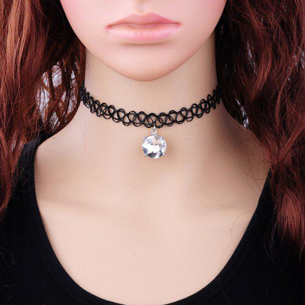 white vintage faux zircon tattoo choker necklace