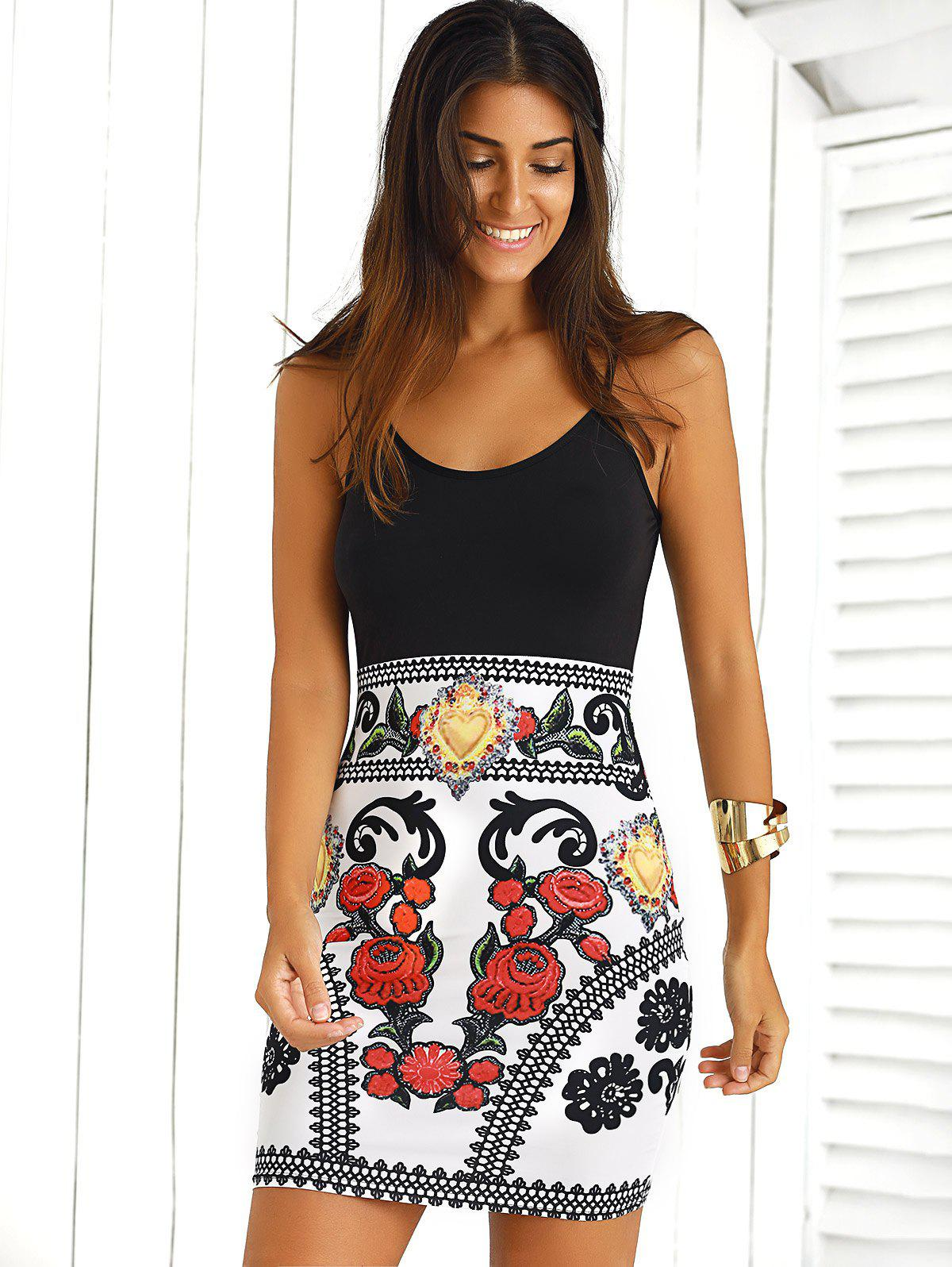Sale Color Block Floral Sleeveless Mini Bodycon Dress